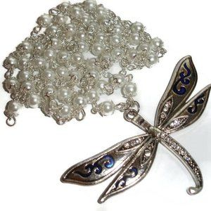 Dragonfly necklace long dragonfly dramatic